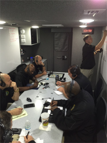 Hostage negotiation team discussing crisis in command center