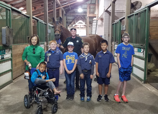 Cub Scouts Pack 6 Bear Den met with the Mounted Unit to spend time with OCSO horses