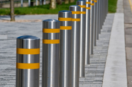 example of a walkway with safety bollards