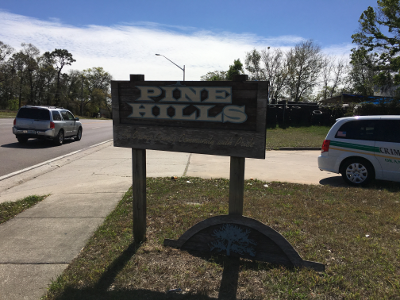 Pine Hills sign needing repair